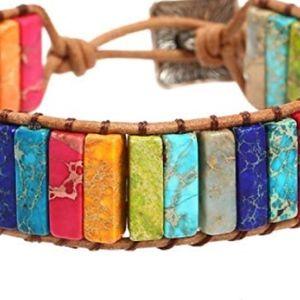 Jewelry - Leather Chakra Handmade Adjustable Bead Bracelet